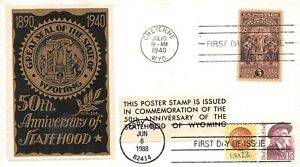 897 3c Wyoming Statehood, L.W. Staehle cachet in brown & gold dual [011921.0935]