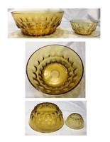 VINTAGE Indiana Glass Serving Bowls AMBER THUMBPRINT Chips Dip 2-Piece Set