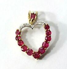 "Beautiful 14K YELLOW GOLD, RUBY, DIAMOND ""Heart"" Necklace Pendant: 1.4 Grams"