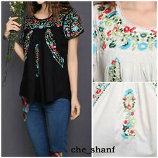 Vintage 70s Scallop Ethnic Floral Mexican Embroidered Hippie Blouse Top 5 Colors
