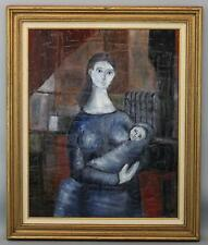 Mid-20thC Modernist Expressionist Portrait Oil Painting Young Mother & Baby
