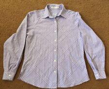 Foxcroft Purple & White Plaid Wrinkle Free Button Down Top Size 4 Long Sleeve