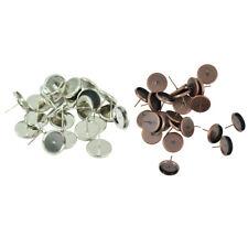 48 PCS 12mm Ear Pin Copper Ear Stud Earring Findings Supplies DIY Jewelry