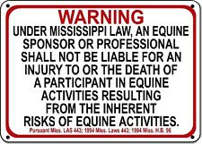 MISSISSIPPI Equine Sign activity liability warning statute horse barn stable