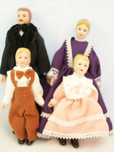 Victorian Porcelain Doll Family dollhouse  miniature 4pc   06821  1/12 scale