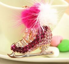 Ice Skate Roller Lovely Charm Feather Crystal Purse Bag Keyring Chain Fine Gift