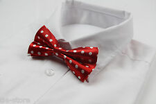 MENS RED AND WHITE POLKA DOT PATTERN BOW TIE PRE-TIED MEN BOWTIE WEDDING FORMAL