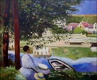 Hand Painted Oil Painting Repro Claude Monet The River Bennecourt 20x24in