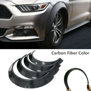 4x Universal Car Wheel Fender Flares Wide Body Wheel Arches Carbon Fiber Style