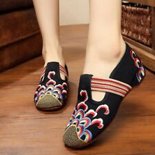 Womens Trendy Ballet Shoes Pump Chinese Style Embroidered Flats T-strap Mary Jan