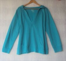 Venezia Turquoise Hoodie Detailed Embroidered V Neck Long Sleeve Size 18 20