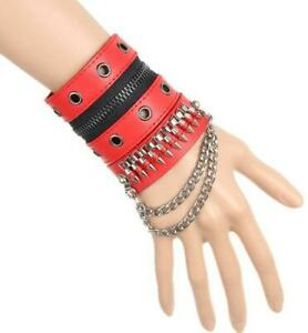 Men Cosplay Punk Zipper Bracelet Biuking Leather Bracers Wristband 1PCS Gift