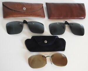 Vintage Clip On Sunglasses 3 Pairs In Original Cases - Retro - Great Lot - VGC