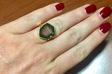 Genuine Watermelon Tourmaline Fancy Shape 14K Solid Yellow Gold LadIes Ring Sz 6