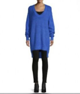 NWT Free People Womens Sunday Scoop Blue Oversized Tunic Sweater LG
