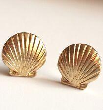 Gold Sea Life Scallop Shell Earrings Post Pierced Island Beach Nautical Plated