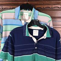 Billy Reid Short Sleeve Polo Shirt Lot of 2 Striped 100% Cotton Men's Size M