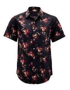 Men's Floral Pattern Casual Button Down Short Sleeve Cotton Dress Shirt