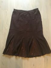 Gorgeous Essence Size 20 Brown Red Stitched Stretch A-Line Smart Casual Skirt