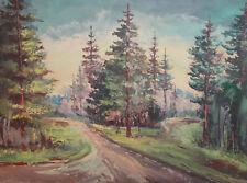 Vintage oil painting impressionist forest landscape