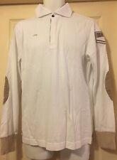 Authentic ETIQUETA NEGRA polo sweat shirt L/S Blanc Taille L RRP £ 120