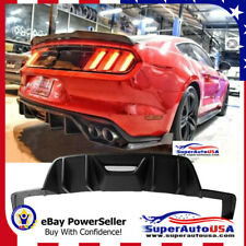 Fits Ford Mustang 2015-2017 Unpainted Black 4 Fins HN Style Rear Bumper Diffuser