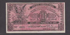 1 LIBRA PERUANA DE ORO EF BANKNOTE FROM PERU 1921 PICK-S606 RARE WITH STAMP