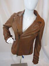 HAUTE HIPPIE Light Brown Leather Jacket w/ Modal Jersey Lining Size M