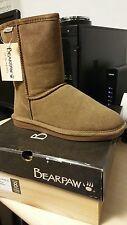 BEARPAW Women's Eva Short Cozy Boots Hickory   8  New in box