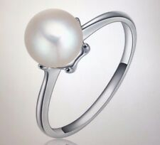 Silver Simulate Pearl Ring White Cultured Pearl Authentic Cultured Ring Size 6