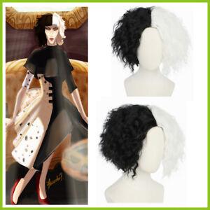 CRUELLA DEVILLE de Vil Cosplay Wig Curly Black White Hair Deville + Wig Cap New
