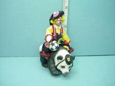 "Miniature Clown Riding a Panda Bear Handcrafted 1"" (1:12 Maureen Thomas"