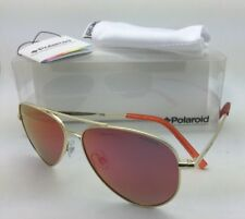 Kids POLAROID Sunglasses PLD 8015/A J5G OZ 52-12 Gold Aviator Frame w/Red Mirror