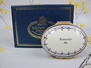 "Vintage rare Halcyon Days oval enamel BOX ""Remember Me"". Perfect gift"