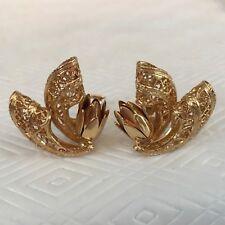 Signed Corocraft Lotus Flower Bud Filigree Vintage Mid-Century Goldtone Earrings