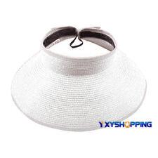 Womens Summer Sun Visor Cap Roll Up Foldable Beach Straw Hat Casual Golf Tennis