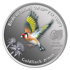 ISRAEL 2018 COINS & MEDALS CORP. GOLDFINCH  BIRDS SERIES 2017 COLOR .999 SILVER