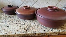 Vintage HEATH MOJAVE Lidded 3 Casseroles set Sausalito CA Mid Century GREAT!!