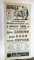 1986 Cartel Plaza de Toros Sevilla Rafael Camino Fernando Cepeda Rafael Gago