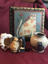 Cat Lover? Look at these items.Cat Picture, 2 pic frames, & Pottery! All Cats