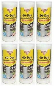 6 x Zero In 60 Day Citronella Diffuser Adjustable Indoor & Outdoor Portable NEW