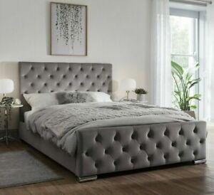 iBEX Upholstered PLUSH VELVET Bed frame , 3ft/4ft/4ft6/5ft/6ft , MADE IN UK