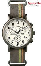Timex Weekender T2P780 PVD Plated Case Chronograph Leather Quartz Men's Watch