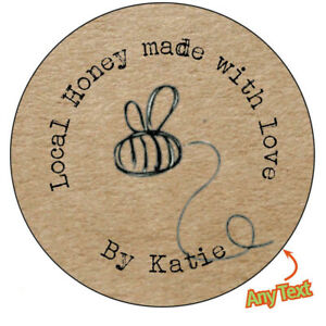 HANDMADE Personalised HONEY BEE Shabby Brown Kraft Effect Favour Stickers - 144