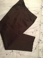 Dockers Men's Classic Fit Khaki Pants 34 x 30 Brown Flat Front Cotton Chino