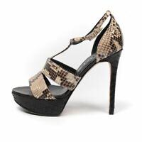 GINA Sandals Black & Beige Gloss Python 125mm Size 37.5 / UK 4.5 NC 217