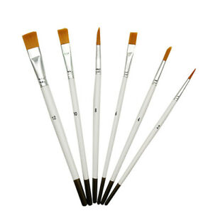 6 white wooden nylon brushes Drawing Gouache watercolor pen and oil brush se.jh