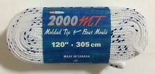 """Tex Style 2000 MT Molded Tip Hockey Skate Laces 120"""" - 305cm White Wide Unwaxed"""