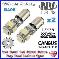 2x 5 SMD ERROR FREE CANBUS LED XENON WHITE SIDE LIGHT BULB 233 T4W BA9S BAYONET