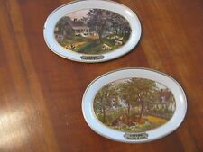 "Set Of 2 Currier & Ives ""Spring/Autumn"" Tin Change Trays"